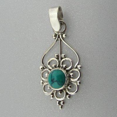 Zilveren Hanger Bloem Truquoise