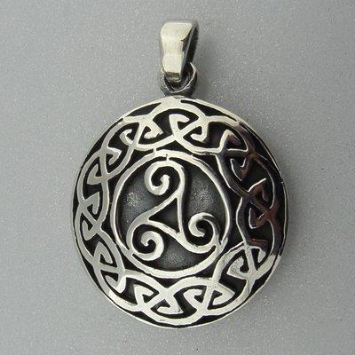 Zilveren Hanger Triskel in Keltische Cirkel