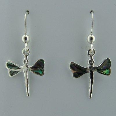 Zilveren Oorbel Libelle met Parelmoer