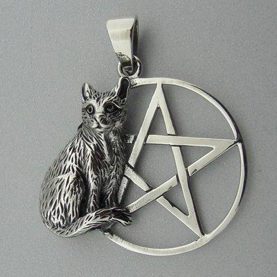 Zilveren Hanger Kat op Pentagram