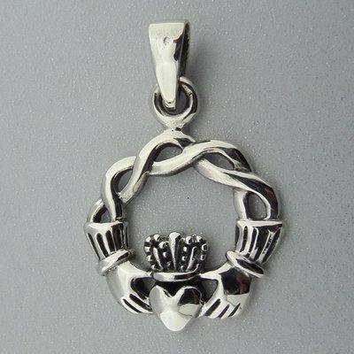 Zilveren Hanger Keltische Claddagh met Infinity