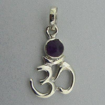 Zilveren Hanger Ohm met Amethist steentje