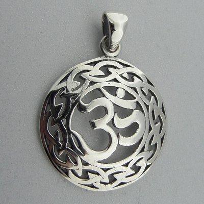Zilveren Hanger Ohm in Keltische Cirkel