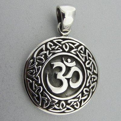 Zilveren Hanger Ohm in Keltische Cirkel met Triquetra