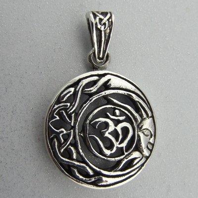 Zilveren Hanger Ohm in Keltische Halve Maan en Zon