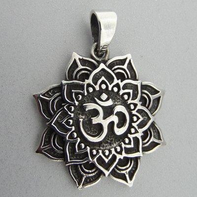 Zilveren Hanger Ohm in Lotus