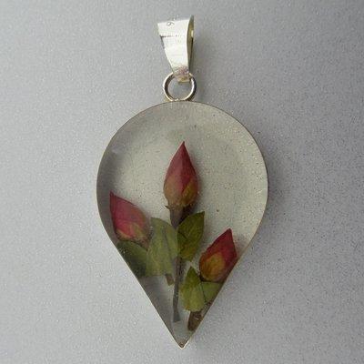 Zilveren Hanger Bloemen Ingelegt