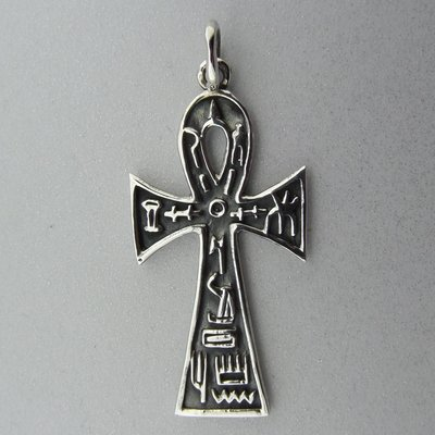 Zilveren Hanger Ankh met Egyptische Tekens