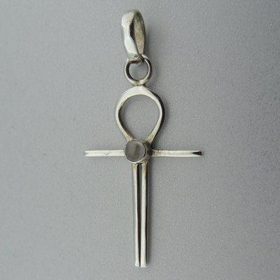 Zilveren Hanger Ankh met Maansteentje