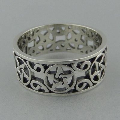 Zilveren Band Ring Pentagram