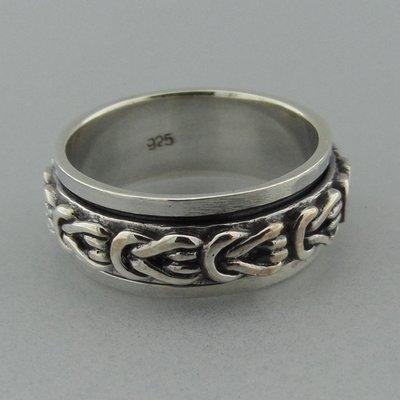 Zilveren Band Ring Draaibaar Platte Knoop