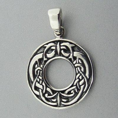 Zilveren Hanger Dolfijnen in Keltische Cirkel