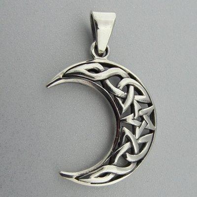Zilveren Hanger Keltische Halve Maan met Pentagram