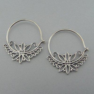 Zilveren Oorring Flower