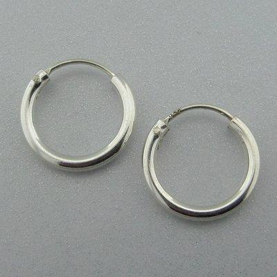 Zilveren Oorring Glad  14 mm