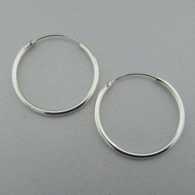 Zilveren Oorring Glad  28 mm