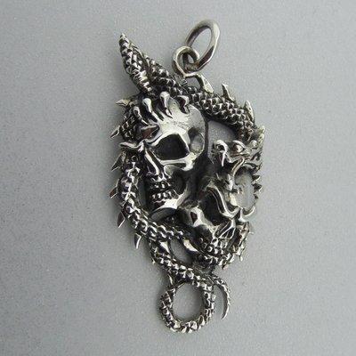 Zilveren Hanger Doodshoofden in Draak