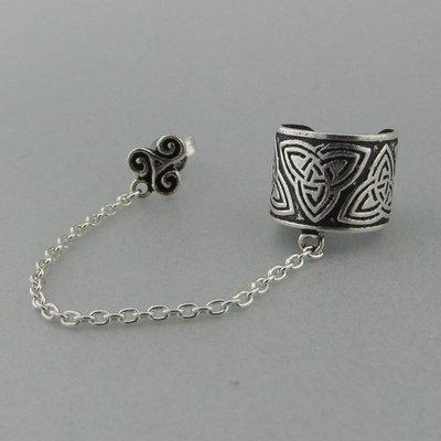 Zilveren Oorklemmetje Keltische Triquetra met Ketting en Triskel Steker