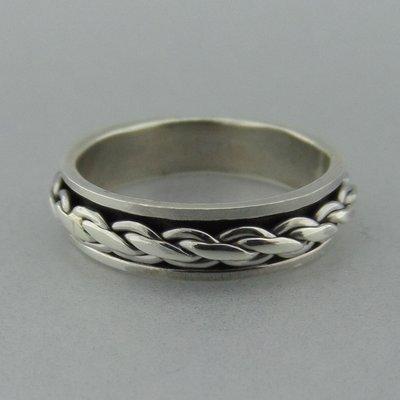 Zilveren Draai Ring Vlecht