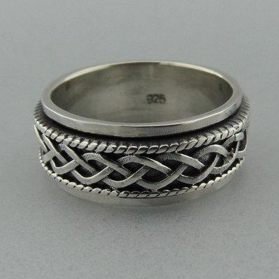 Zilveren Band Ring Draaibaar Vlecht
