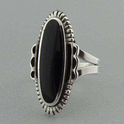 Zilveren Ring Langwerpig Onyx
