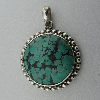 Zilveren Hanger Turquoise