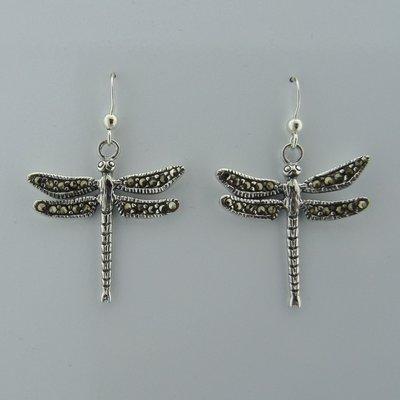 Zilveren Oorbel Libelle met Markasietjes