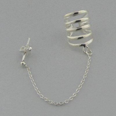 Zilveren Oorklemmetje met Ketting en Stekertje