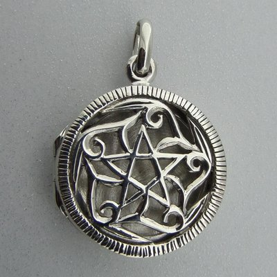 Zilveren Hanger Medallion Open Bewerkt met Pentagram