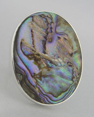 Zilveren Ring Parelmoer rond