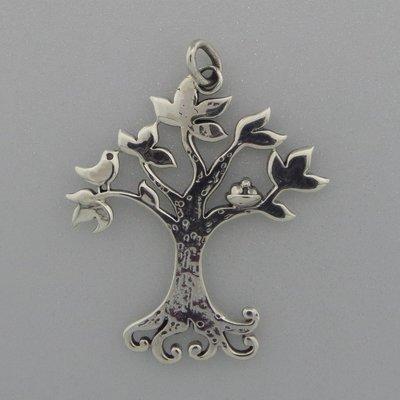 Zilveren Hanger Levensboom met vogels