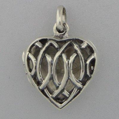 Zilveren Hanger Medallion hart open bewerkt