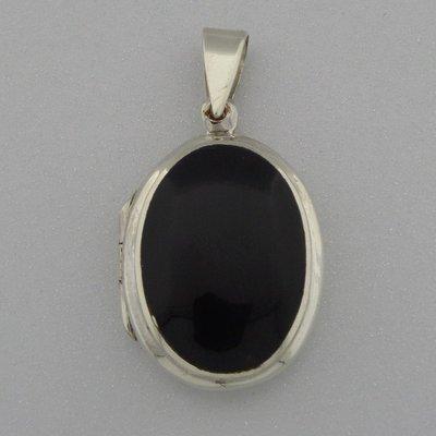 Zilveren Hanger Medallion Onyx ovaal