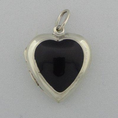 Zilveren Hanger Medaillon Onyx Hart