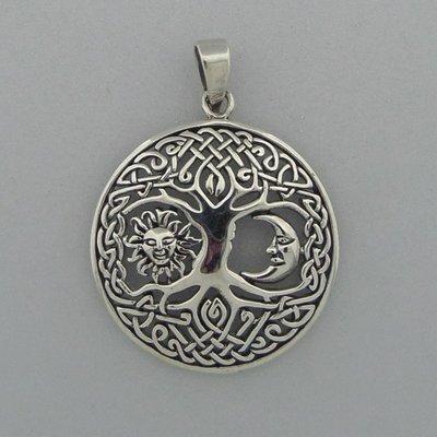 Zilveren Hanger Levensboom met zon en maan
