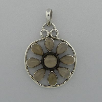 Zilveren Hanger Bloem edelsteen