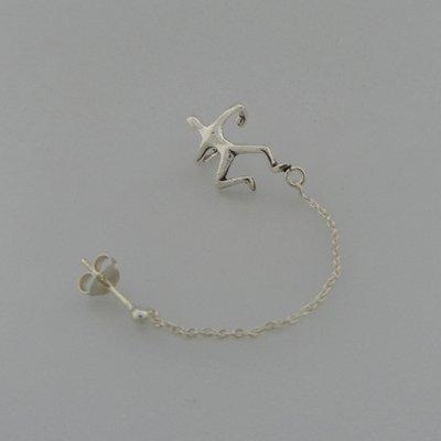 Zilveren Oorklemmetje mannetje aan ketting met stekertje