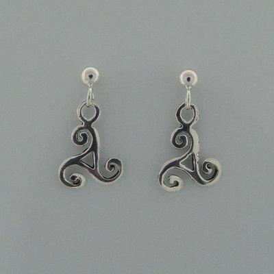 Zilveren Oorsteker Knopje met Keltische Triskel