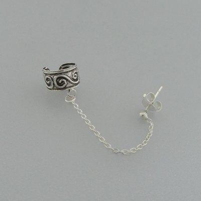 Zilveren Oorklemmetje met ketting