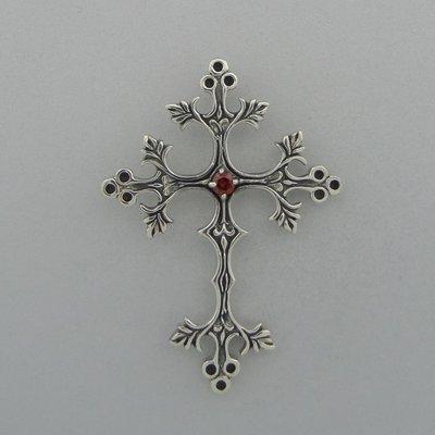 Zilveren Hanger Kruis met Granaat