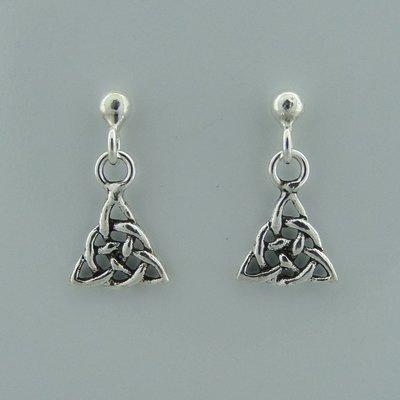 Zilveren Oorstekers Knopje met Keltische Triquetra