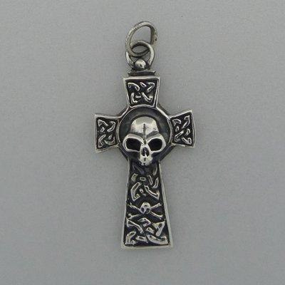 Zilveren Hanger Kruis met doodshoofd