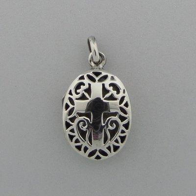 Zilveren Hanger Medallion openbewerkt met kruis