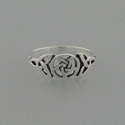 Zilveren Ring Pentagram met Triquetra