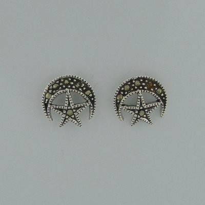 Zilveren Oorstekers Halve maan met ster en markasietjes