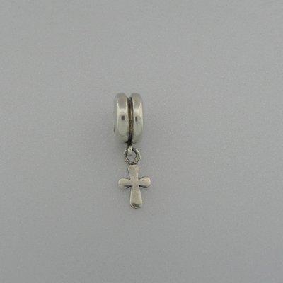 Zilveren Biba Beads Kraal kruis