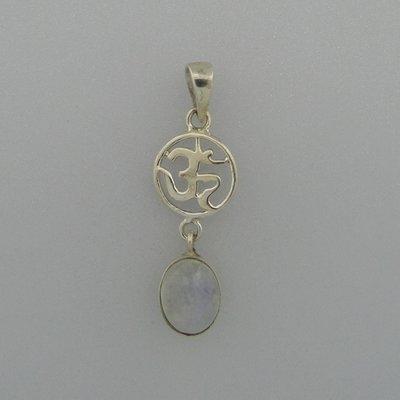 Zilveren Hanger Ohm met maansteen