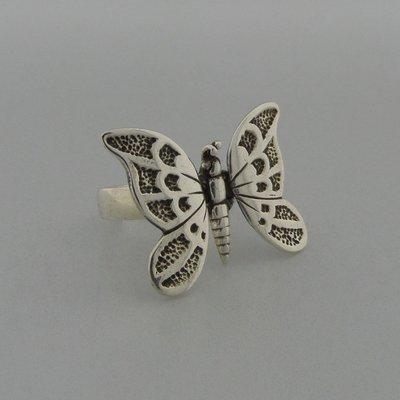 Zilveren Ring Vlinder beweegbaar
