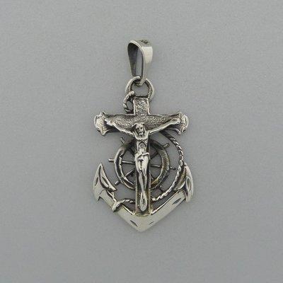 Zilveren Hanger Anker met Kruis