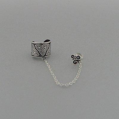 Zilveren Oorklemmetje Triquetra met ketting en Oorsteker Triskel